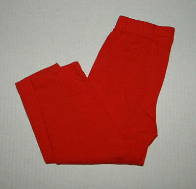Hanna Andersson Solid Orange Red Cropped Livable Leggings  Girls 110 Cotton Fall
