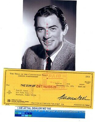 Gregory Peck vintage signed Bank Cheque / Check AFTAL#145
