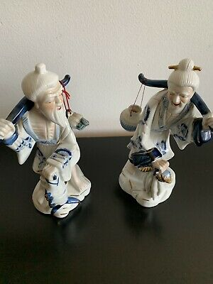 Blue and White Porcelain Chinese Asian Fisherman And Woman Figurines Vintage
