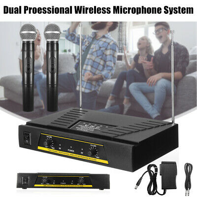 Dual 2 Channel VHF Wireless Microphone System Cordless Handheld Mic+Receiver