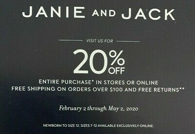 20% off ENTIRE JANIE AND JACK Purchase Kids Clothing Coupon Expires 05/02/2020