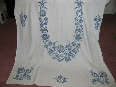Banquet Size Tablecloth w Hand Cross Stitch Floral Embroidery - White & Blue