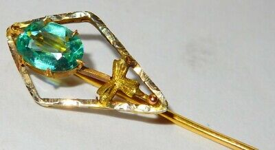stunning art deco 10ct gold aquamarine set stick pin circa 1930