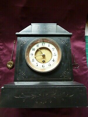 Antique French Marble Clock (Belgian Slate Timepiece)