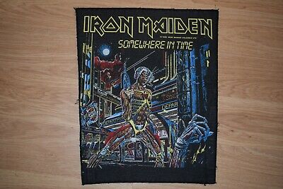 """Iron Maiden """"Somewhere in Time"""" Official 1986 Vintage Back Patch Judas Priest"""