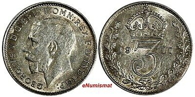 GREAT BRITAIN George V Silver 1917 3 Pence MAUNDY  KM# 813