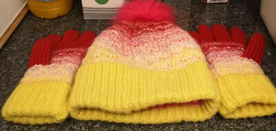 Next Girls Ages 11-13 Yellow Red Pink Pom Pom Hat Gloves Set Winter Spring