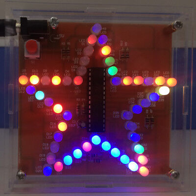 Colorful Glittering Five-Pointed Star Water Light LED RGB DIY Kit with Shell