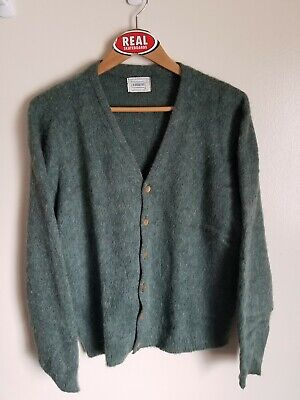 Vintage Mohair Cardigan Fuzzy Cobain Sweater Men's Large Green