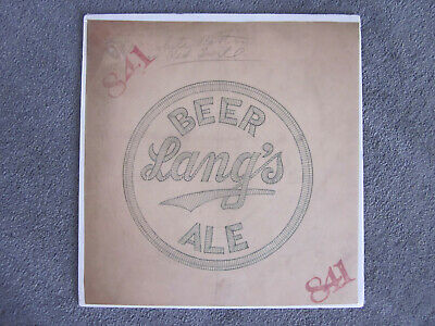 1930's Buffalo N. Y. LANG'S BEER & ALE Embroidered Patch ORIGINAL ARTWORK