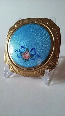 Blue Vintage Guilloche Enamel Floral Pink Rose Ribbon Bow Compact