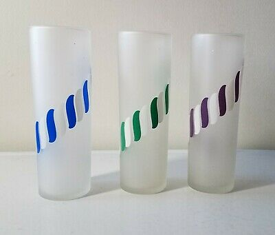 Set Of 3 Vintage Tall Frosted Libby Iced Tea Glasses