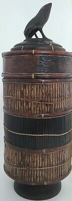 Large Cylinder Hand Crafted Wood Trinket Box w/Carved Frog Lid Office/Home Decor