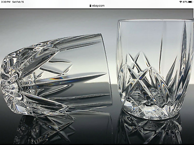 2 Waterford Marquis Brookside Double Old Fashioned Crystal Glasses
