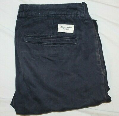 Abercrombie and Fitch Mens Chino Trousers Navy Blue W32 L32