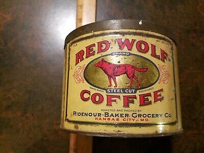 Vtg Red Wolf Coffee Can 1 pound Tin Kansas City graphics baker grocery