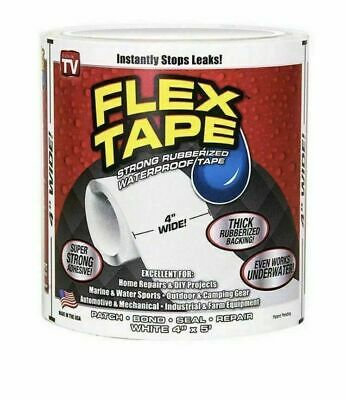 "White FLEX TAPE 4"" X 5'  PATCH BOND SUPER STRONG RUBBERIZED WATERPROOF SEAL"