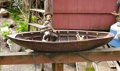 Vintage wooden boat - Fisherman - Fishing pole - Wooden fish - painted
