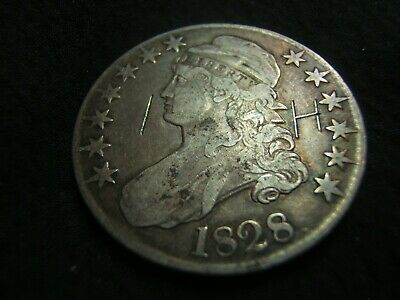 1828 Silver Capped Bust Half $ VF and nice gun metal tone! Curl Base, No knob 2