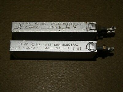 Pair, Western Electric Type 141 H Condensers, Dual .02 MFD, Silver