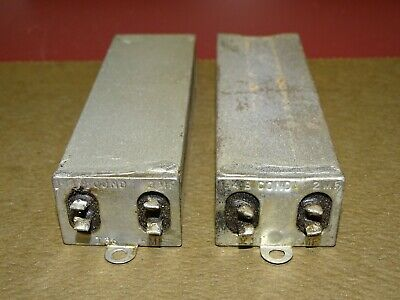 Pair, Western Electric Type 194B Condensers, Dual .5 and 2 MFD, Good