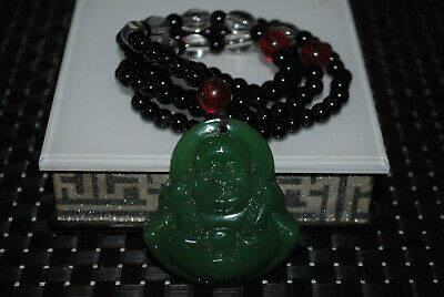 Chinese jade Yongshan culture hand-carved emerald mascot necklace