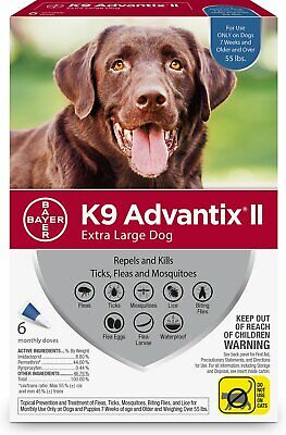 K9 Advantix II for Extra Large Dogs Over 55 lbs - 6 Pack **New & Free Shipping**