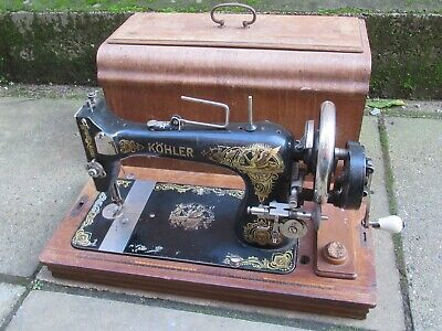 vintage antique kohler sewing machine hand crank untested decoration prop german