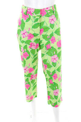 Lilly Pulitzer Womens Mid Rise Straight Leg Capris Pants Green Cotton Size 10