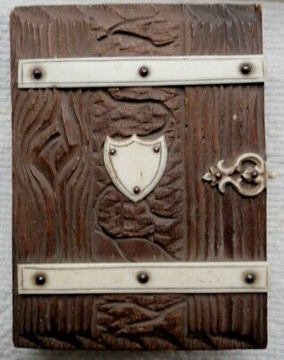 Antique Hand Carved  Wood Leather And Bone Folk Art Photo Album Black Forest