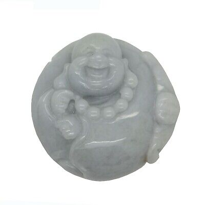 Jade Pendant Light Green Sitting Happy Buddha, Laughing Buddha Figure k324N