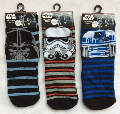 New 3 Pairs Star Wars Boys Socks Infant UK 6-8.5 Darth Vader Stormtrooper R2:D2