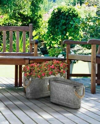 2 Oval Bucket Planters Galvanized Metal w/ Rope Handles 1 Large & 1 Small