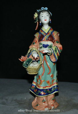 """11.6"""" Old Chinese Wucai Porcelain Dynasty Beautiful Woman Flower Basket Statue"""