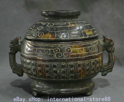 """6.8"""" Old Chinese Han Dynasty Old Jade Carving Dragon Beast Ear Beast Face Vessel"""