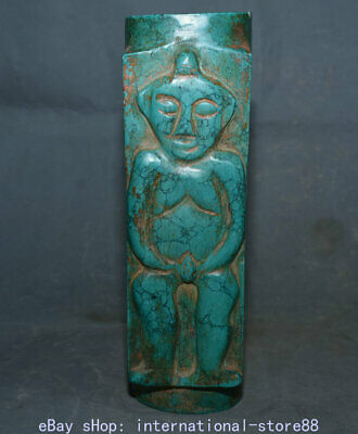 """10.6"""" Rare Old Chinese Neolithic Hongshan Culture Turquoise Man Women Yu Cong"""