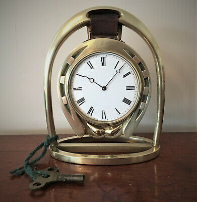 19th Century Brass Horseshoe and Stirrup Design Clock with French Movement