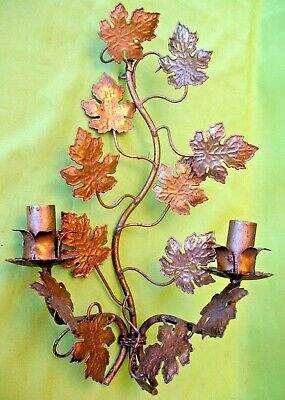 Old vintage arts & crafts bronze metal ornate autumn foliage wall candle sconce