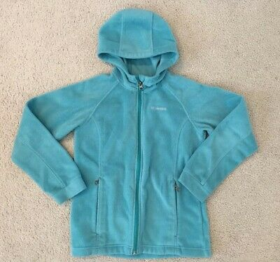 COLUMBIA Big Girls Fleece Jacket Light Blue Hooded Size L