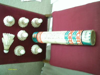 Vintage Made in USA Sportcraft Tourney Badminton Shuttlecocks in Cardboard Tube