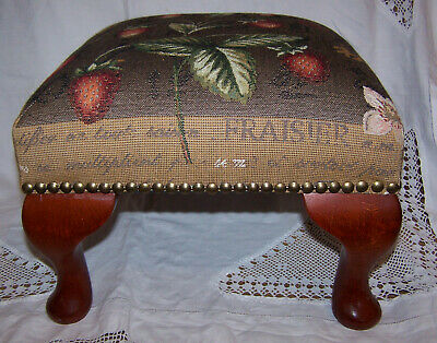 Tapestry Footstool Fraisier French Strawberry Tree