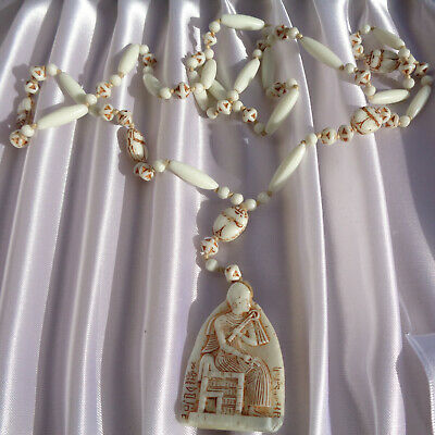 B'ful Art Deco Neiger Bros Egyptian Revival Glass Scarab Droplet Flapper Necklac