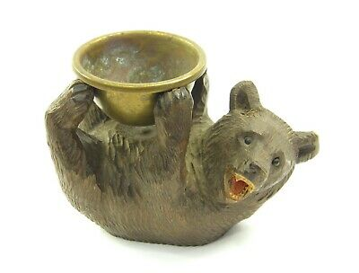 Antique 19th century black forest bear carved wooden & brass desk tidy pin dish