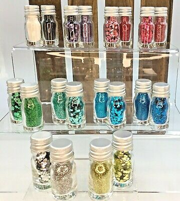 Biodegradable Glitter 10ml Glass Bottles Chunky & Fine Cosmetic Craft Sparkles