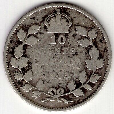 1913 Canada Ten 10 Cent George V Sterling Silver Dime Coin