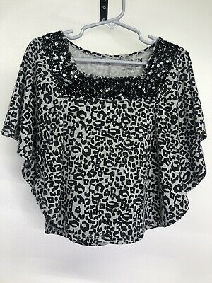 Girls One Step Up Butterfly Sleeve Gray and Black Animal Print Sequin Size 4