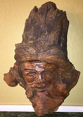Wood Spirit Carved Tree Face beard wind whimsical wizard gnome folk art vintage