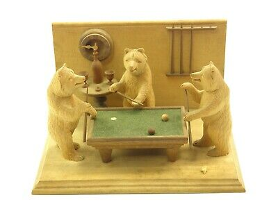 Antique 19th century Black Forest carved wood figure group bears playing snooker