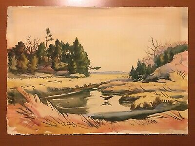 Lester G Hornby Original Watercolor Painting Marsh Landscape 22X16 New England