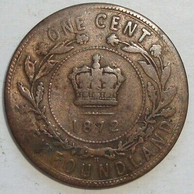 1872 H Newfoundland Canada One 1 Cent Victoria Large Penny Coin